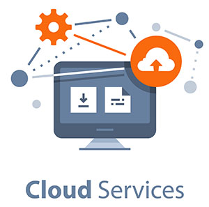 Cloud services and technology, storage solution, data exchange, online network concept, vector flat illustration